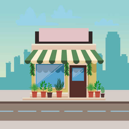 green house in front city landscape cartoon vector illustration graphic design