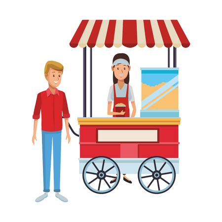 pop corn cart woman with client cartoon vector illustration graphic design