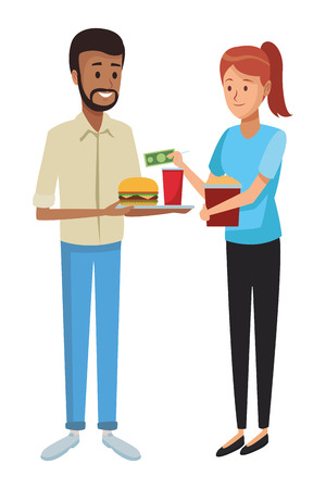 love couple eating fast food cartoon vector illustration graphic design Иллюстрация