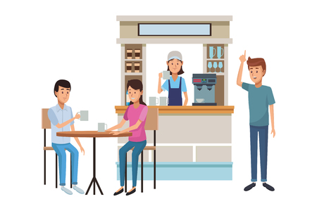 coffee shop with clients drinking coffee over table cartoon vector illustration graphic design