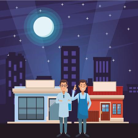 Apotheker und Kellner vor Einkaufsläden und Stadtlandschaft bei Nacht Vektorgrafik-Grafikdesign