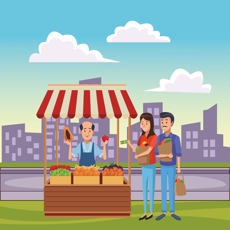 grocery man and fruits stand with clients at nature park cartoon vector illustration graphic design Çizim