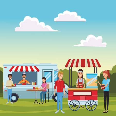 popcorn cart woman at nature park in front fast food truck cartoon vector illustration graphic design Illustration