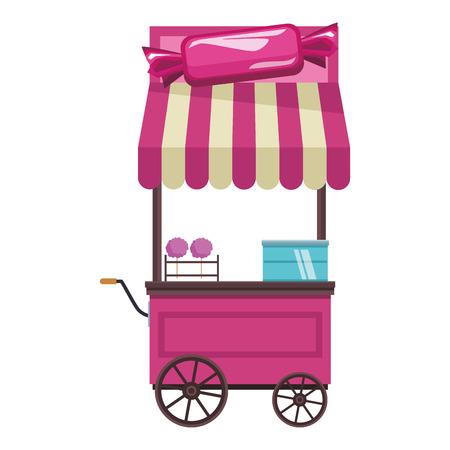 cotton candy cart cartoon vector illustration graphic design 版權商用圖片 - 116308024