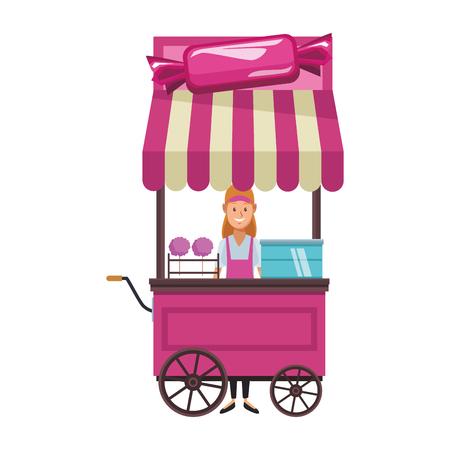 cotton candy cart woman cartoon vector illustration graphic design