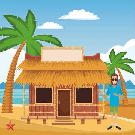 disegno grafico dell'illustrazione di vettore del fumetto della casa estiva della spiaggia
