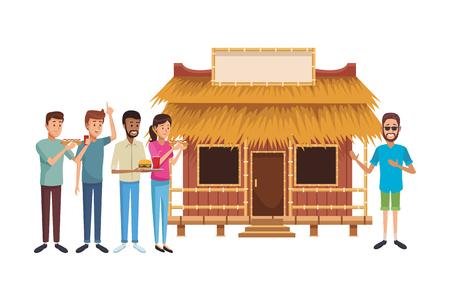 beach summer house cartoon vector illustration graphic design