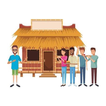 Diseño gráfico del ejemplo del vector de la historieta de la casa de verano de la playa Ilustración de vector