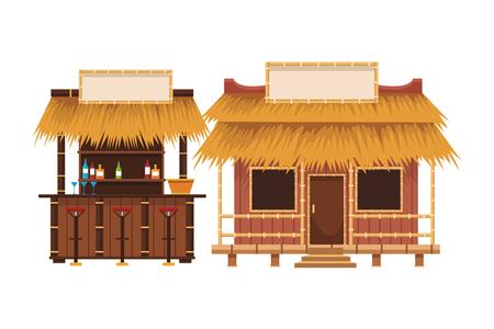 Diseño gráfico del ejemplo del vector de la historieta de los puestos del mercado de verano de la playa