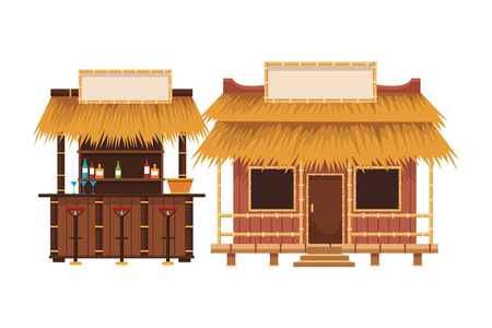 Les étals du marché d'été de la plage cartoon vector illustration graphic design
