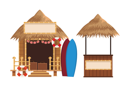 beach summer market stalls cartoon vector illustration graphic design