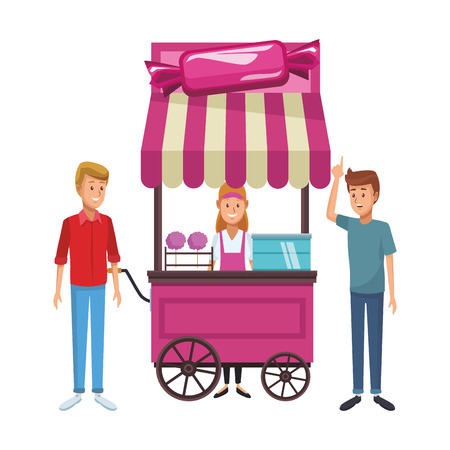 cotton candy cart with clients shopping cartoon vector illustration graphic design