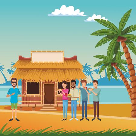 Diseño gráfico del ejemplo del vector de la historieta de la casa de verano de la playa