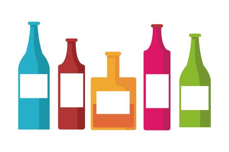 alcohol bottles banner cartoon vector illustration graphic design