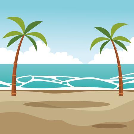 beach palms landscape cartoon vector illustration graphic design