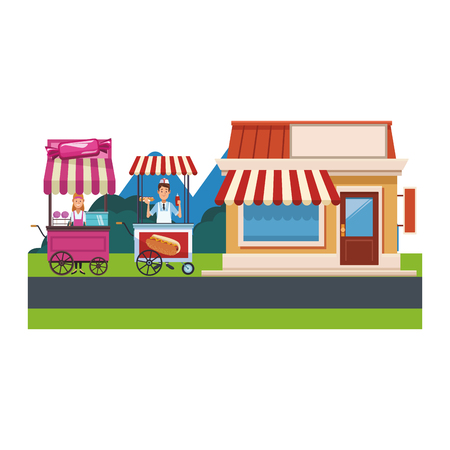 cotton candy cart and bakery with hot dog cart at nature park cartoon vector illustration graphic design