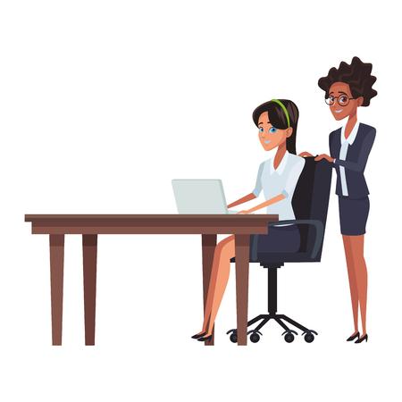 executive businesswomen cartoon vector illustration graphic design Vetores