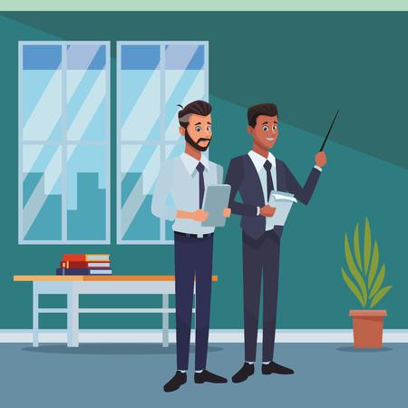 executive businessmen inside office cartoon vector illustration graphic design