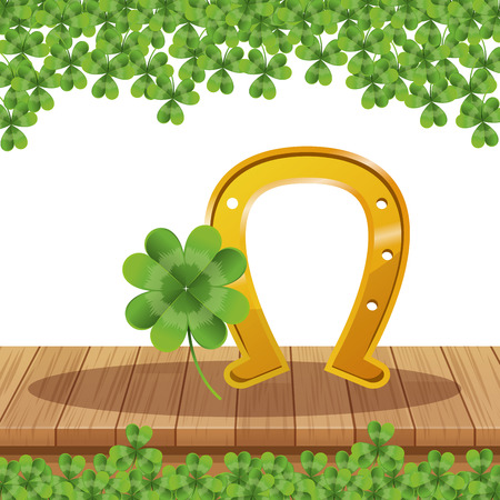 Saint patricks day cartoons table and shamrocks vector illustration graphic design