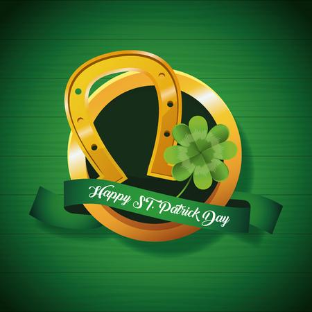 Happy saint patricks day round emblem with ribbon banner vector illustration graphic design