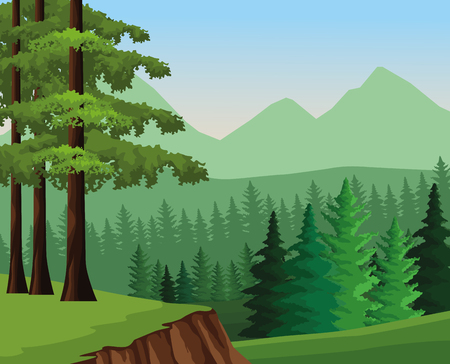 Wanderlust landscape scenery forest vector illustration graphic design