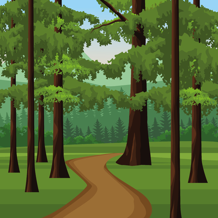 Wanderlust landscape scenery forest with path vector illustration graphic design
