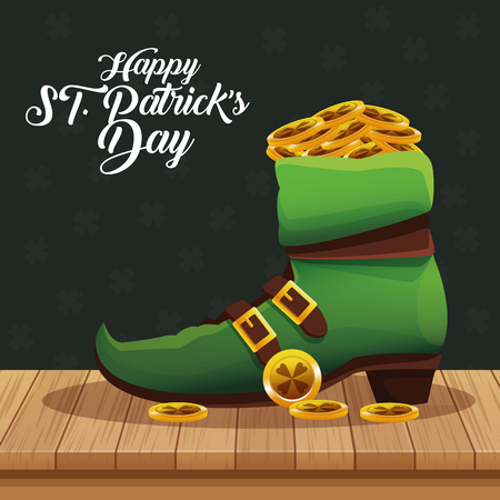 Happy saint patricks day cartoons on table vector illustration graphic design