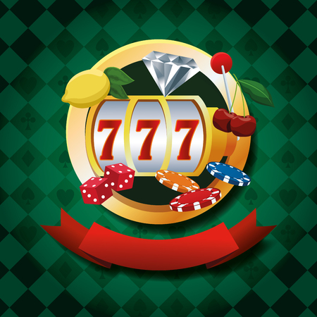 Casino gambling game emblem with ribbon banner green background vector illustration graphic design