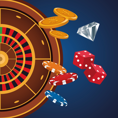 Casino game cartoons over blue background vector illustration graphic design