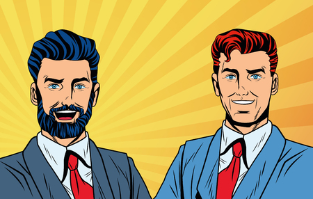 Pop art businessmen cartoon yellow striped background vector illustration graphic design