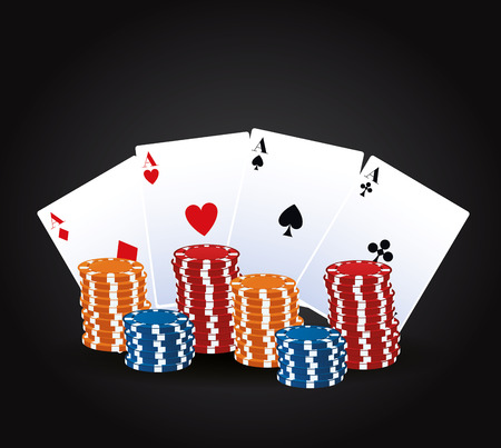 Casino gambling game cartoons card and chips vector illustration graphic design