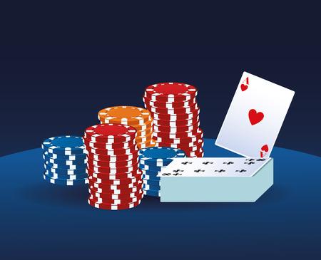 Casino game cartoons over blue background vector illustration graphic design