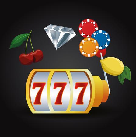 Casino gambling game cartoons machine chips cherrry and lemon vector illustration graphic design
