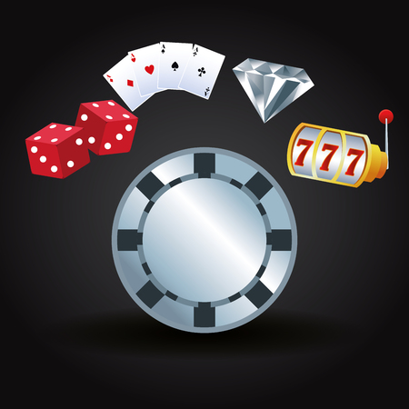 Casino gambling game cartoons roulette cards dices and diamond vector illustration graphic design