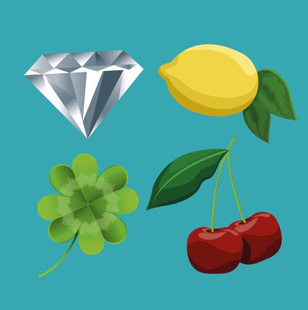 Casino machine game symbols vector illustration graphic design