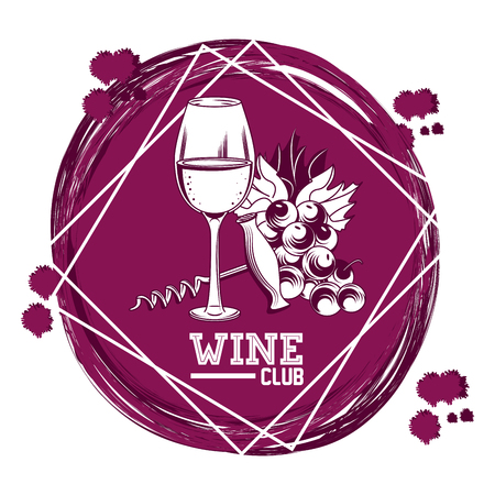 Wine Club vintage purple round emblem vector illustration graphic design