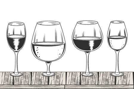 Wine cups black and white drawing vector illustration graphic design