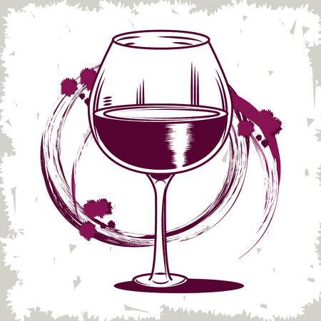 Winery vintage cup drawing in purple and white vector illustration graphic design