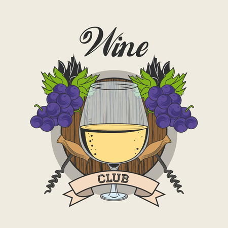 Wine club emblem with ribbon banner vector illustration graphic design Illustration
