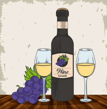 Wine bottle cups and grapes grunge design vector illustration graphic design
