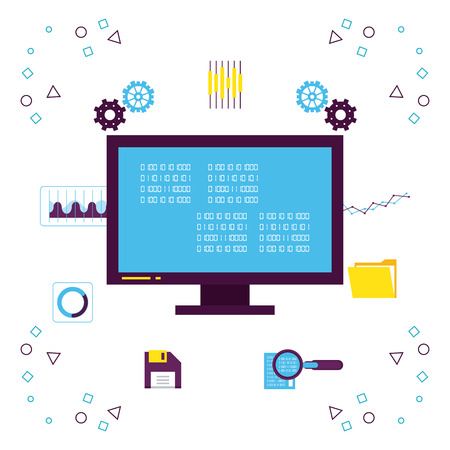 Big-Data-Technologie mit Symbolvektorillustrations-Grafikdesign Vektorgrafik