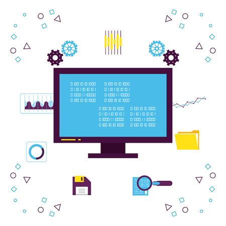 Tecnologia di big data con simboli illustrazione vettoriale graphic design Vettoriali