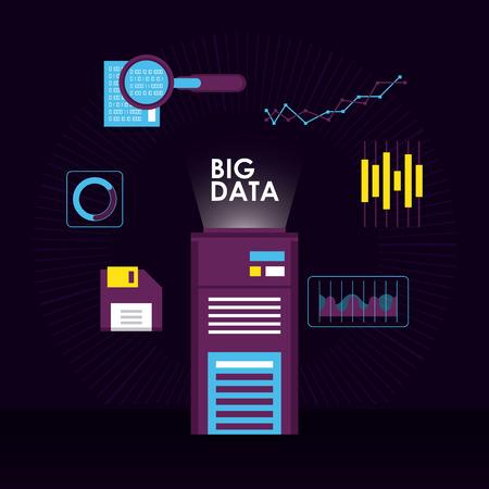 Big data symbols technology elements vector illustration graphic design