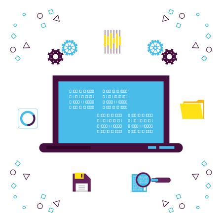 Big data technology with symbols vector illustration graphic design Illustration