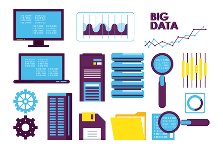 Database technology icons collection vector illustration graphic design