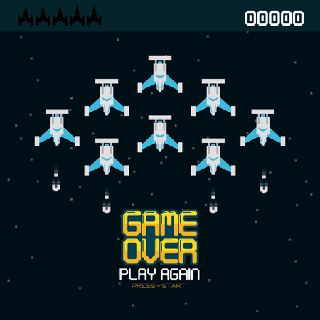 Videogame game over pixelated concept vector illustration graphic design