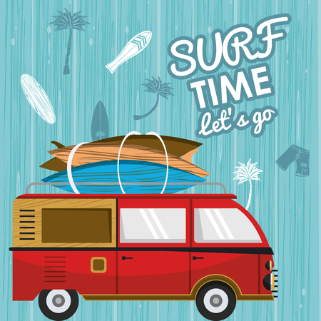 Surf time card with vintage van with tables cartoons vector illustration graphic design