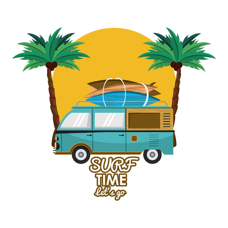 Surf time card with vintage can with tables cartoons vector illustration graphic design Vectores