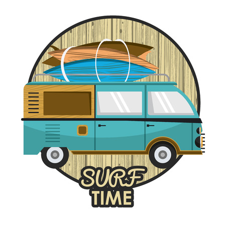 Surf time card with van and tables cartoons vector illustration graphic design