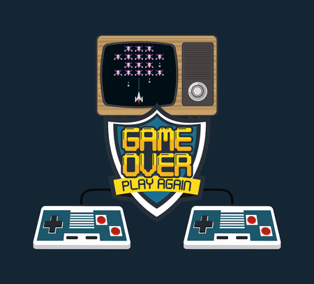 videogame game over play again concept tv and gamepads vector illustration graphic design